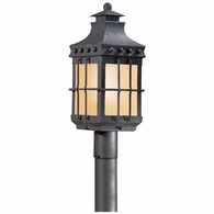 PF8972NB Troy Hand-Forged Iron Exterior Dover 1Lt Post Lantern Fluorescent Medium with Natural Bronze Finish