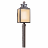 PF9006OBZ Troy Hand-Forged Iron Exterior Newton 1Lt Post Lantern Fluorescent Large W/Amber Mist Glass with Old Bronze Finish