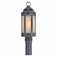 PL1464AI Troy Hand-Worked Iron Exterior Andersons Forge 1Lt Post Lantern Medium with Antique Iron Finish