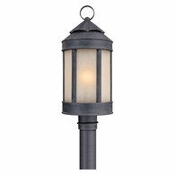 PL1465AI Troy Hand-Worked Iron Exterior Andersons Forge 1Lt Post Lantern Large with Antique Iron Finish