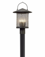 PL5175 Troy Hand-Worked Iron Exterior Altamont 1Lt Post Lantern Led Large with French Iron Finish