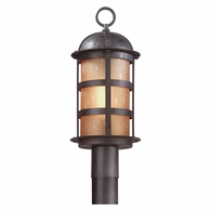 PL9252NB Troy Hand-Worked Iron Exterior Aspen 1Lt Post Lantern Led Large with Natural Bronze Finish