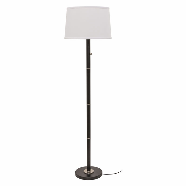 RU703-BLK House of Troy Rupert three way floor lamp in black with satin nickel accents
