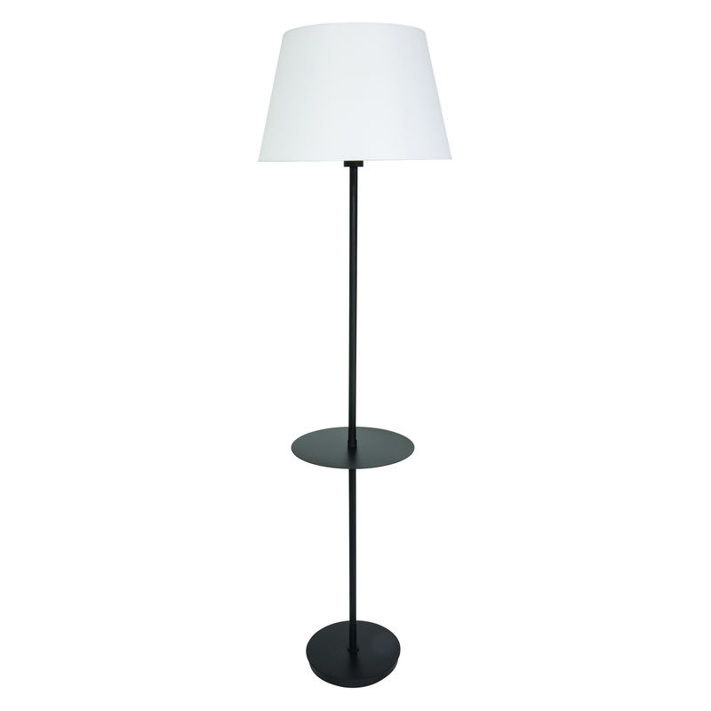 VER502-BLK House of Troy Vernon 3-bulb Floor Lamp with Table in Black