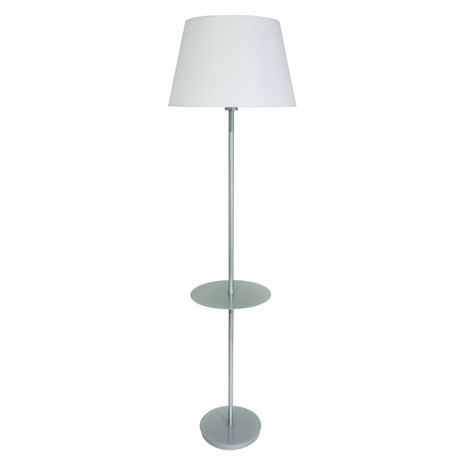 VER502-PG House of Troy Vernon 3-bulb Floor Lamp with Table in Platinum Gray