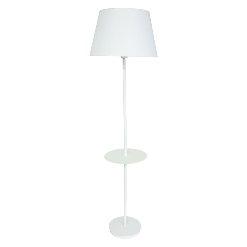 VER502-WT House of Troy Vernon 3-bulb Floor Lamp with Table in White
