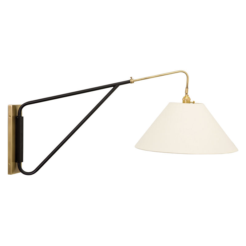 WS731-ABBLK House of Troy Wall Swing Arm in Antique Brass with Black Accents