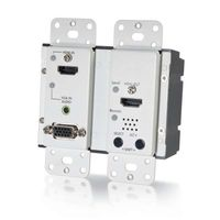 Cables To Go HDMI and VGA + Stereo Audio HDBaseT over Cat5 Extender Wall Plate Transmitter - White - 29301
