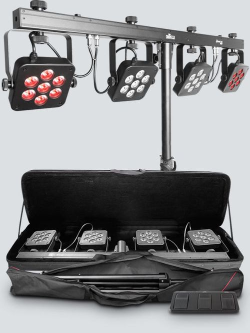 Chauvet DJ 4BAR Tri USB                                                                                                                                                Includes: Carry Bag, Tripod, Tripod Carry Bag, Footswitch - 4BARTRIUSB