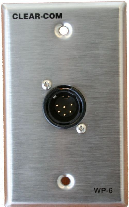 Clear-Com 2-Channel 6-pin Intercom Outlet Wall Plate - WP-6