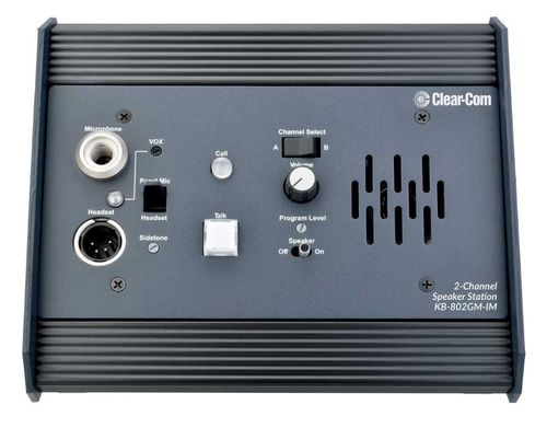 Clear-Com 2-Channel Remote Speaker Station with Gooseneck Mic Connector - KB-802GM-IM