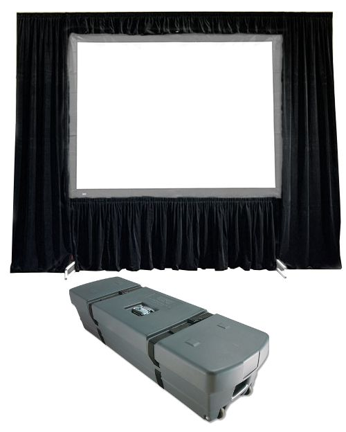 "Draper Truss-Style Cinefold Dress Kit with Case - 20oz. Velour, 12' 3"" x 21', HDTV, Black velour"
