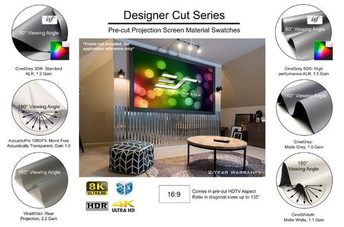 "Elite Screens Designer Cut135"" Front Projection Screen, CineGrey Fabric - RM-135H-CINEGREY"