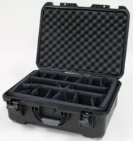 "Gator Cases Black waterproof injection molded case with interior dimensions of 20"" x 14"" x 8"". INTERNAL DIVIDER SYSTEM - GU-2014-08-WPDV"