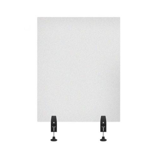 """RECLAIM® Acrylic Sneeze Guard Desk Divider - 24"""" x 30"""" Clamp-On, Frosted"""