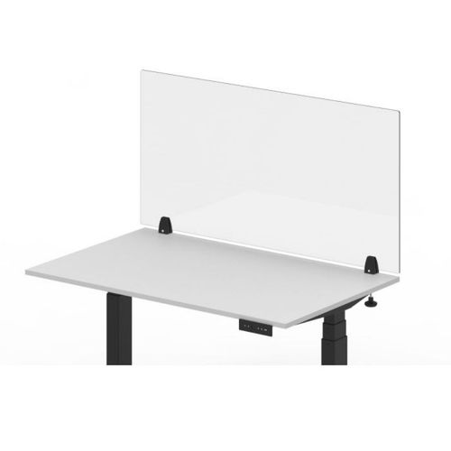 """RECLAIM® Acrylic Sneeze Guard Desk Divider - 48"""" x 24"""" Clamp-On, Clear"""
