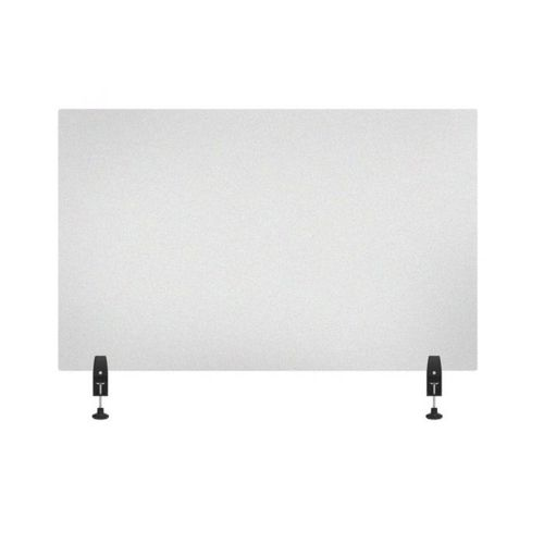 "RECLAIM® Acrylic Sneeze Guard Desk Divider - 48"" x 30"" Clamp-On, Frosted"
