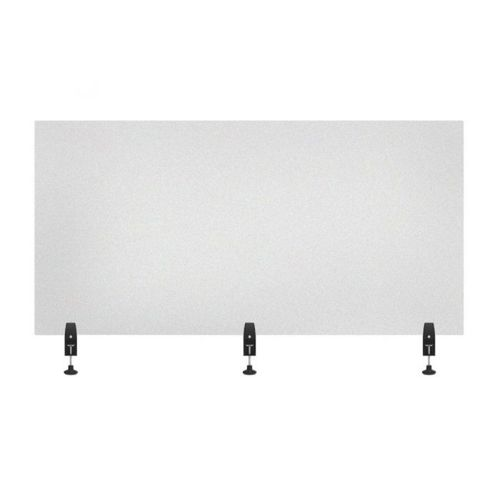 """RECLAIM® Acrylic Sneeze Guard Desk Divider - 60"""" x 30"""" Clamp-On, Frosted"""