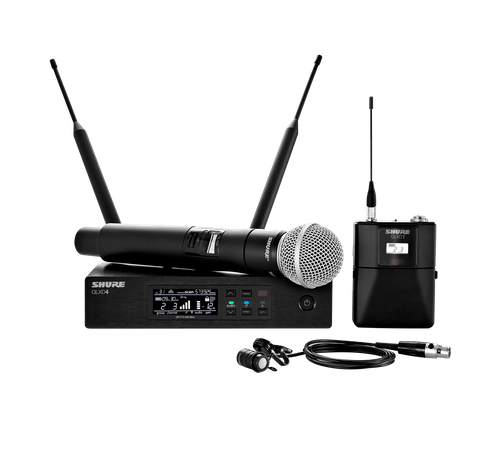 Shure Handheld and Lavalier Combo Wireless Microphone System, J50A Frequency - QLXD124/85-J50A