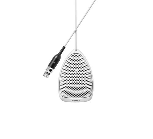 Shure Microflex® Boundary Condenser Microphone, Omnidirectional, Back Cable Exit, Preamp Included, White, 3-pin XLR Connector - MX391W/O