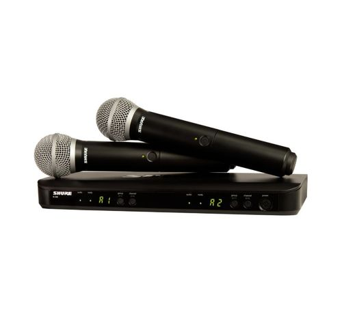 Shure Wireless Dual Vocal System with two PG58 Handheld Transmitters, H11 Frequency - BLX288/PG58-H11