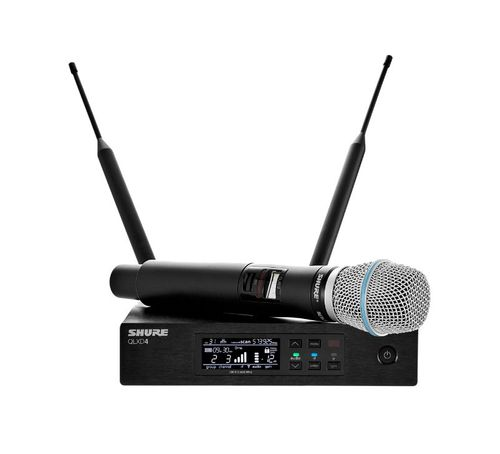 Shure Wireless System with QLXD2/BETA87A Handheld Transmitter, J50A Frequency - QLXD24/B87A-J50A
