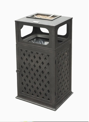 Cast Aluminum Trash Receptacle with Ashtray (UPS $75)