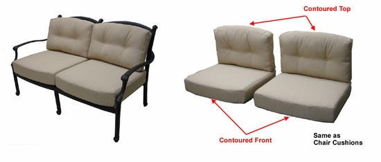 Concord Loveseat Cushions with Ties with Fran's Indoor/Outdoor Fabrics (UPS $50)