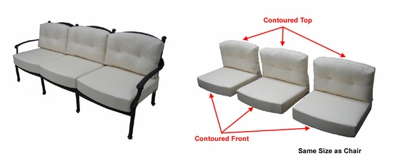 Concord Sofa Cushions with Ties with Fran's Indoor/Outdoor Fabrics (UPS $75)