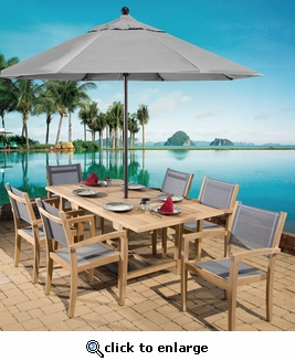 Duke Single Leaf Rectangular Dining Set of Seven (MF)