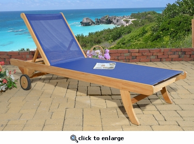 Duke Teak & Sling Chaise Lounge (MF)
