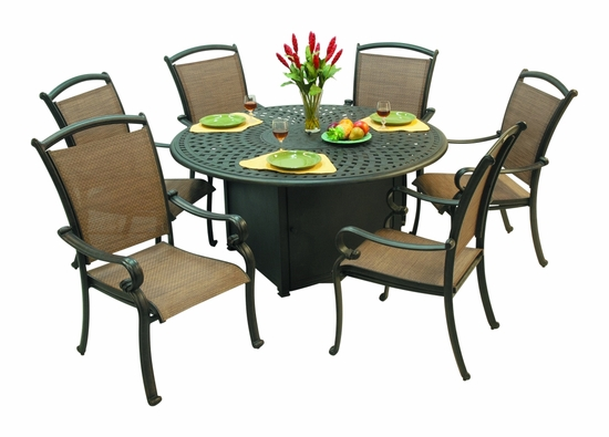 Harbor Round Firepit Dining Table (MF)