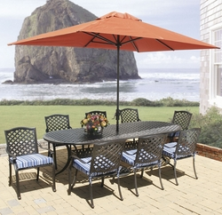 "Lancaster 101"" Oval Dining Set of Nine with Stacking Chairs (MF)"