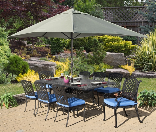 Lancaster Double Leaf Extension Dining Set of 9 (MF)