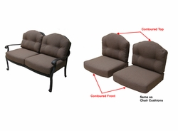 Springfield Loveseat Cushions with Ties with Fran's Indoor/Outdoor Fabrics (UPS $50)