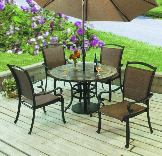 Terrace Stone Table Dining Collection Set of 5 (MF)