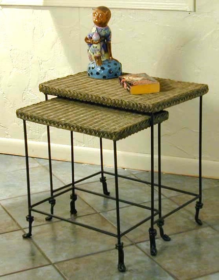 Wrought Iron & Wicker Stacking Tables (UPS $35)