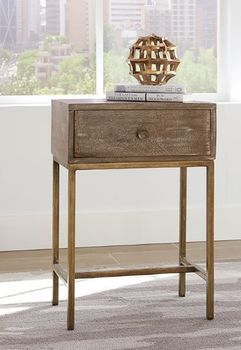 1-Drawer Accent Table Weathered Natural And Antique Gold 930090