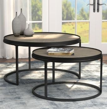 2-Piece Round Nesting Tables Weathered Elm 931215