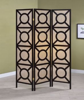 3-Panel Geometric Folding Screen Tan And Cappuccino