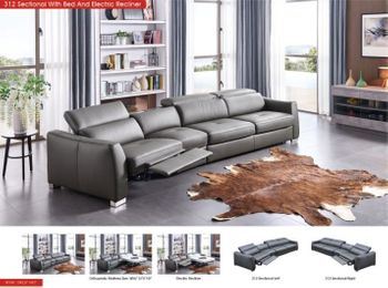312 Right/left Sectional w/Bed and 1 Electric Recliner with Charging Station