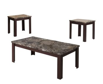 3PC Carly Coffee Table with Faux Marble Top # 81400