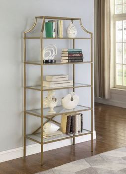 5-Tier Tempered Glass Shelves Bookcase Matte Gold