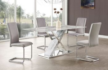 5PC Dining Marble Table and 4 Chairs D1274DT & D4957DC