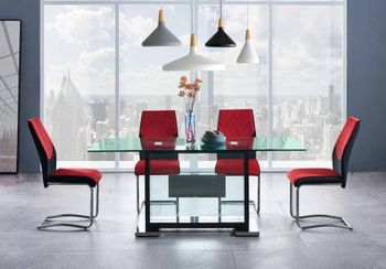 5PC Dining Table and 4 Velvet Chairs D1182DT & D1021DC