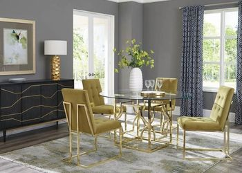 5PC Evianna Brass Table with Chairs Collection by Scott Living