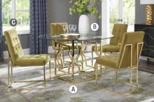 5PC Evianna Brass Table with Chairs Collection