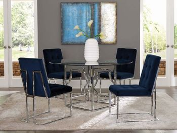 5PC Evianna Chrome Table with Chairs Collection