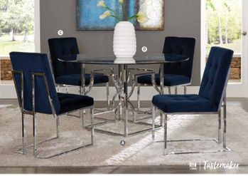 5PC Evianna Chrome Table with Chairs Collection by Scott Living
