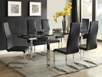 5PC Dining Room Set With Glass Extendable Table Set # 106281